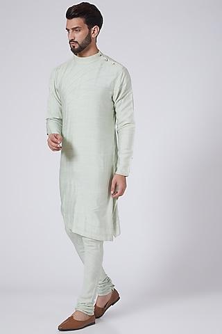 Duck Egg Blue Asymmetrical Kurta Set by Jatin Malik