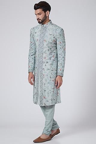Ice Blue Embroidered Sherwani Set by Jatin Malik