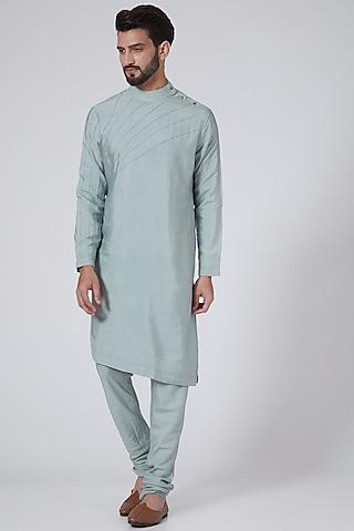 Ice Blue Asymmetrical Kurta Set by Jatin Malik