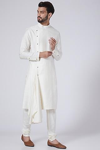 Ivory Side Draped Kurta Set by Jatin Malik