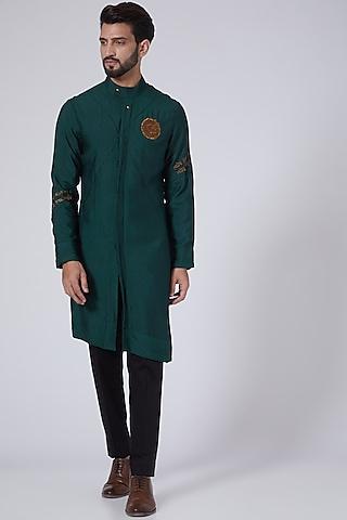 Emerald Green Mantra Kurta Set by Jatin Malik