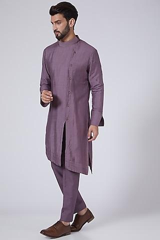 English Purple Asymmetrical Kurta Set by Jatin Malik