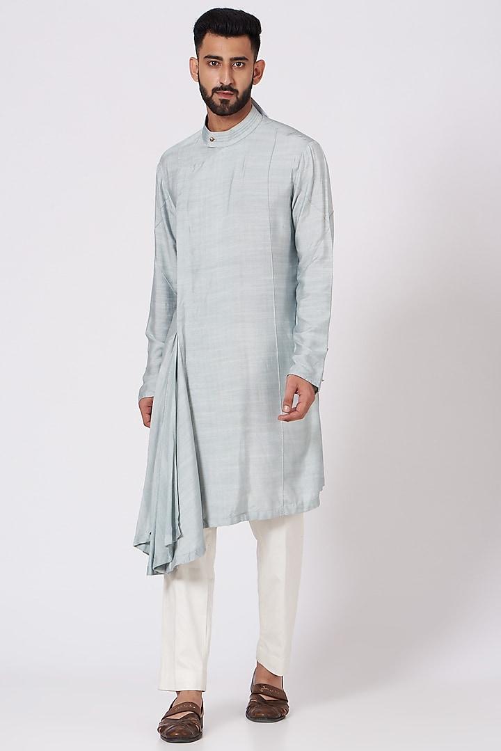Ice Grey Draped Angrakha Kurta Set by Jatin Malik
