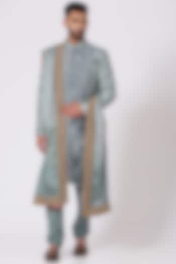 Ice Blue Ombre Embroidered Sherwani Set by Jatin Malik