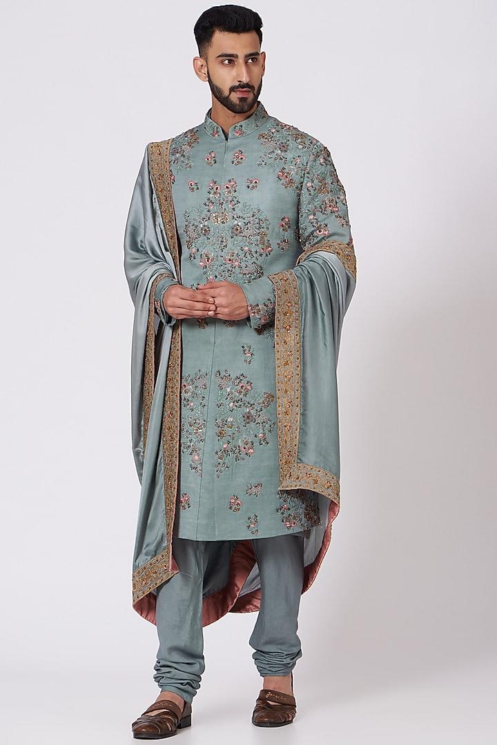 Chateau Grey Embroidered Sherwani Set by Jatin Malik