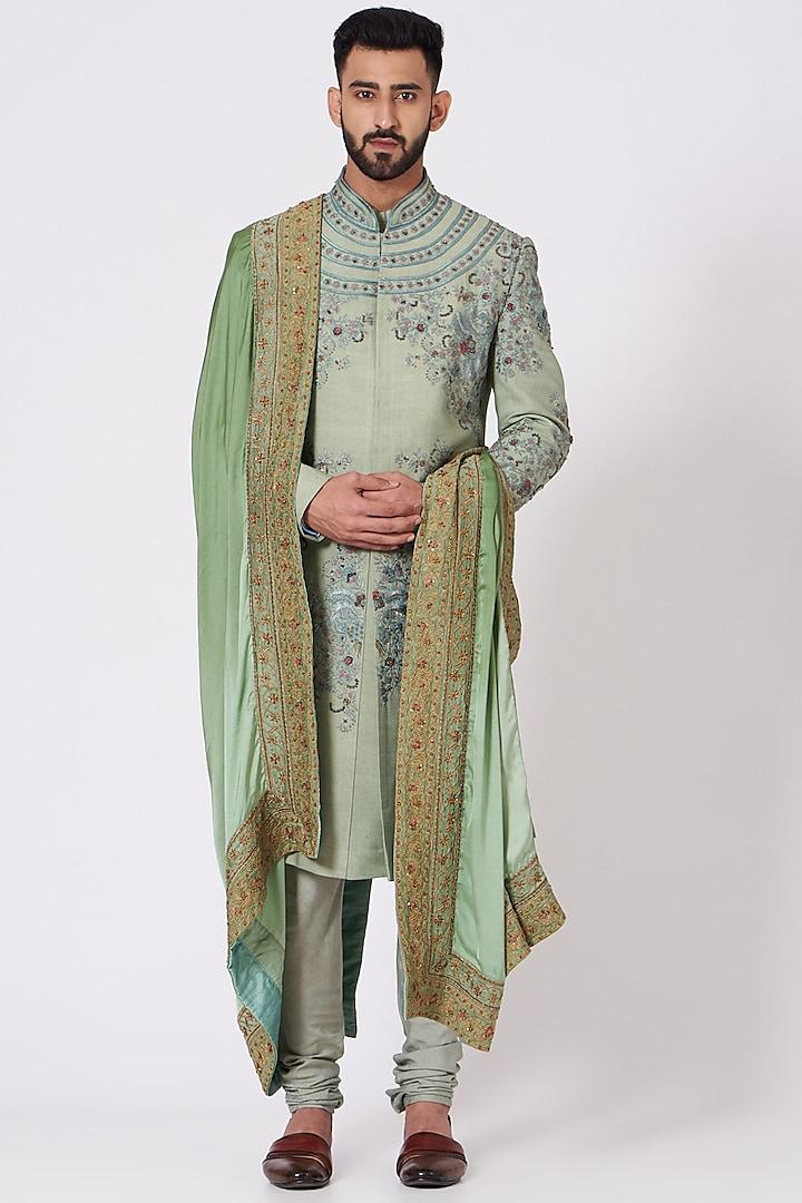 Sage Green Floral Embroidered Sherwani Set by Jatin Malik