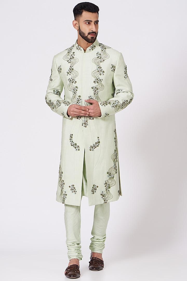 Duckegg Green Tonal Embroidered Sherwani Set by Jatin Malik