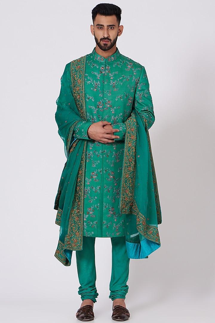 Jade Green Floral Embroidered Sherwani Set by Jatin Malik
