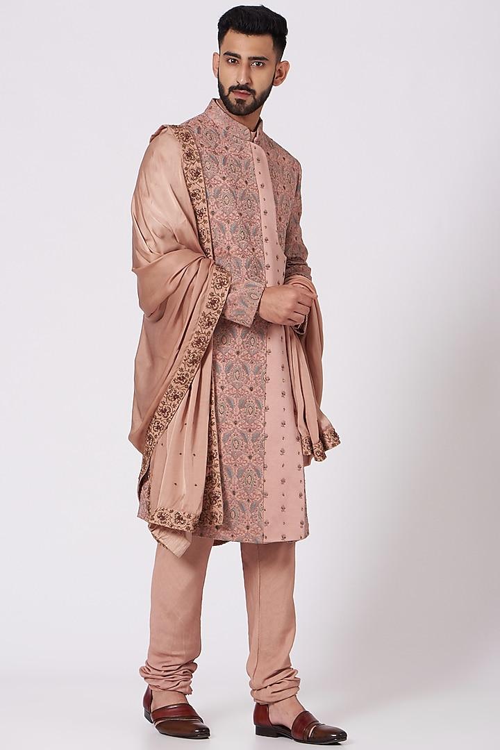 Old Rose Kashmiri Sherwani Set by Jatin Malik