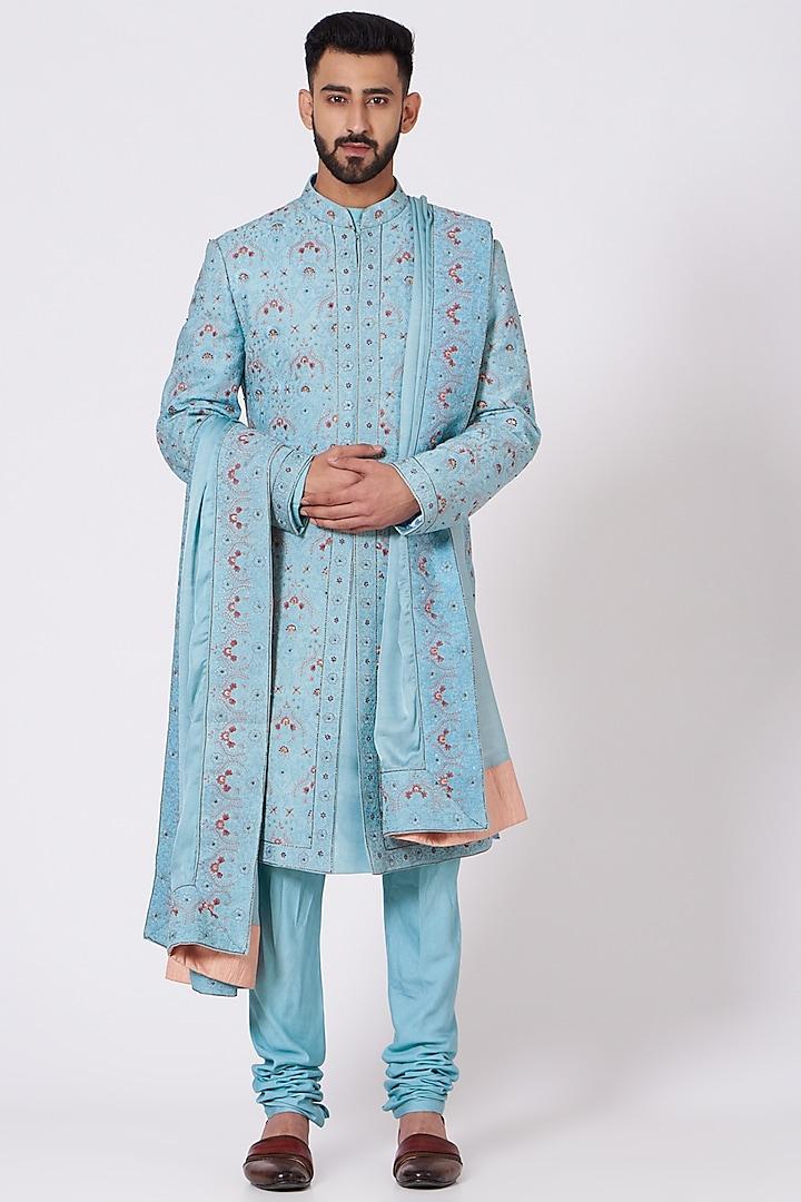 Pool Blue Kashmiri Sherwani Set by Jatin Malik