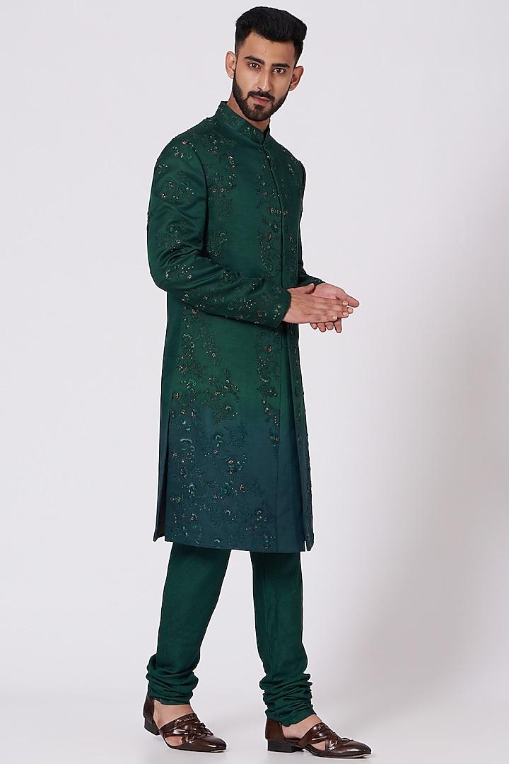 Forest Green Floral Embroidered Sherwani Set by Jatin Malik