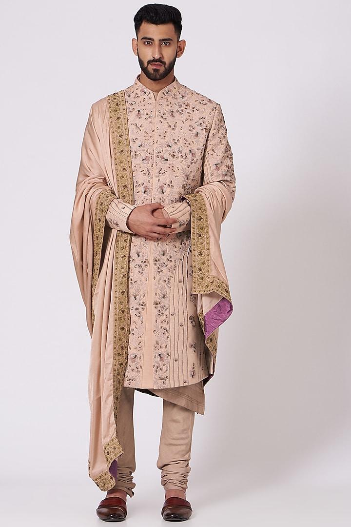 Champagne Floral Embroidered Sherwani Set by Jatin Malik