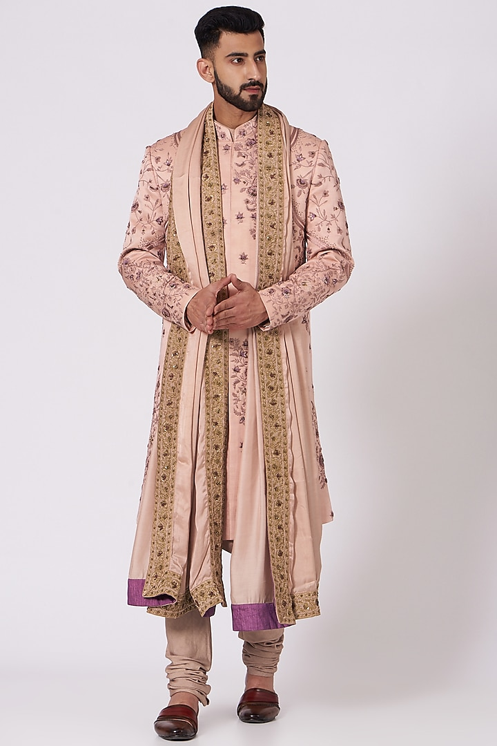 Old Rose Floral Embroidered Sherwani Set by Jatin Malik