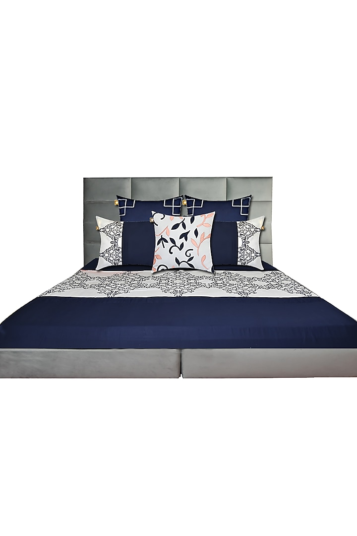 Midnight Blue Embroidered Bedsheet Set (Set of 6) by Jazz My Home