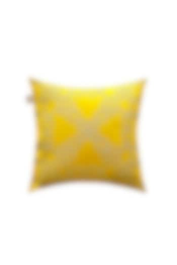Sunshine Yellow Polyester Silk Cushion Cover by Jazz My Home