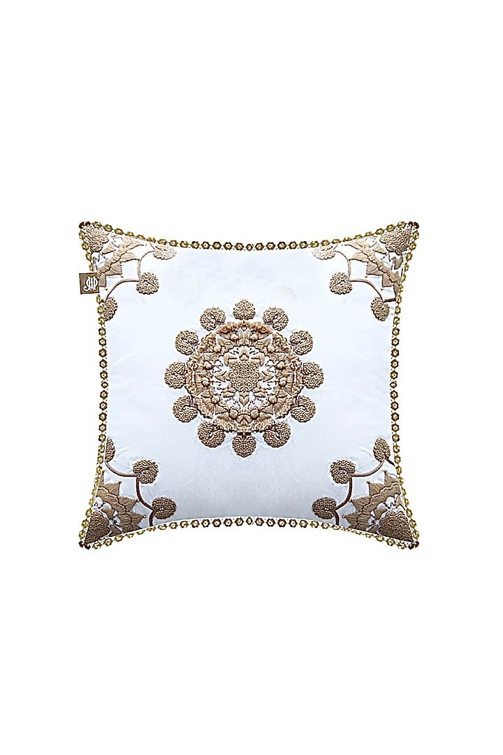 White Cushion Cover With Floral Arrangement by Jazz My Home