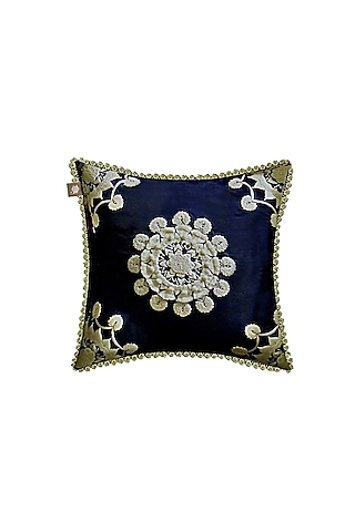 Midnight Blue Cushion With French Knots by Jazz My Home