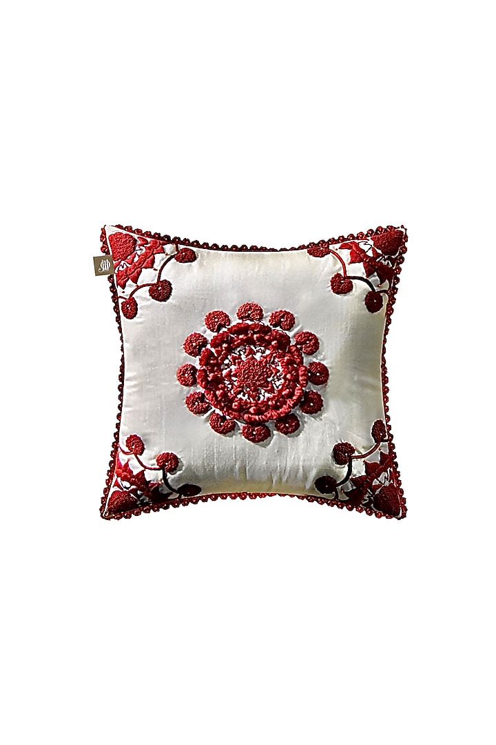 White Cushion Cover With Handwork by Jazz My Home