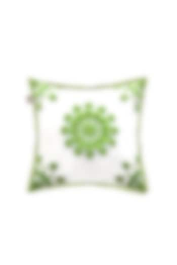 White Cushion Cover With Floral Detailing by Jazz My Home