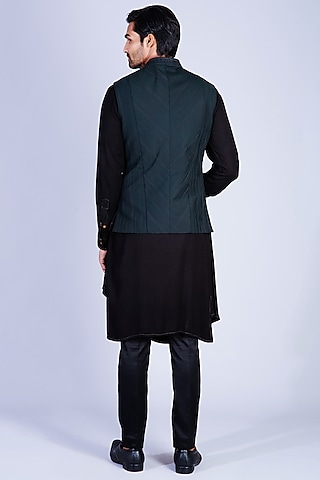Dark Green & Black Kurta Set With Waistcoat by Sarab Khanijou