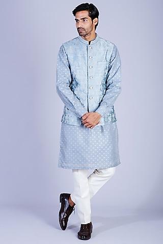 Steel Grey Chanderi Silk Kurta Set by Sarab Khanijou