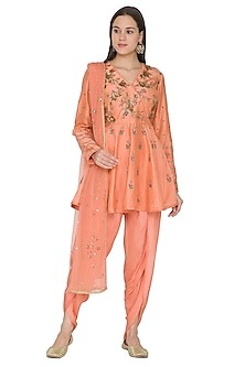 Rust Colored Embroidered Dhoti Kurta Set by Joy Mitra