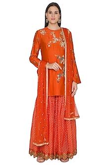 Orange Embroidered Kurta Set by Joy Mitra
