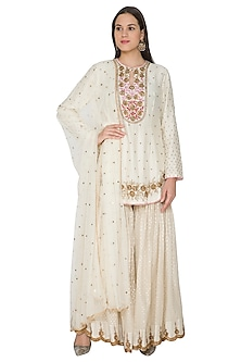 Cream Resham & Pitta Embroidered Kurta Set by Joy Mitra-SHOP BY STYLE