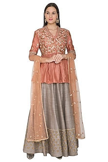 Peach Embroidered Lehenga Set by Joy Mitra-SHOP BY STYLE
