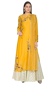 Yellow Embroidered Kurta Set by Joy Mitra-SHOP BY STYLE