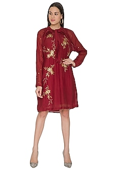 Maroon Embroidered Chanderi Dress by Joy Mitra