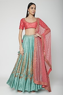 Pink & Mint Embroidered Lehenga Set by Joy Mitra