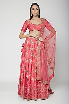 Pink Embroidered Lehenga Set by Joy Mitra