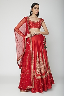 Red Embroidered Lehenga Set by Joy Mitra