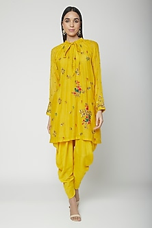 Yellow Embroidered Tie Top With Dhoti Pants by Joy Mitra