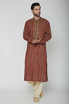Maroon Embroidered & Printed Kurta Set by Joy Mitra Men