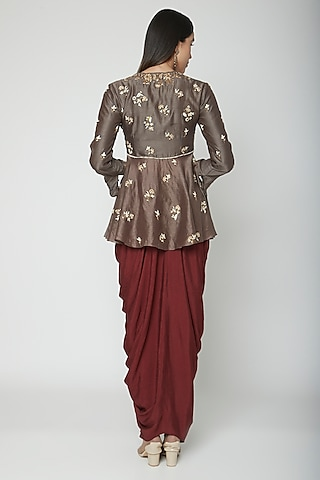 Soul Grey Embroidered Dhoti Set by Joy Mitra