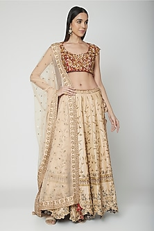 Peach Embroidered Lehenga Set by Joy Mitra