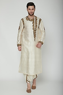 Cream Embroidered Kurta Set by Joy Mitra Men
