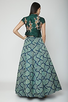 Green Embroidered Jacket With Skirt & Dupatta by Joy Mitra