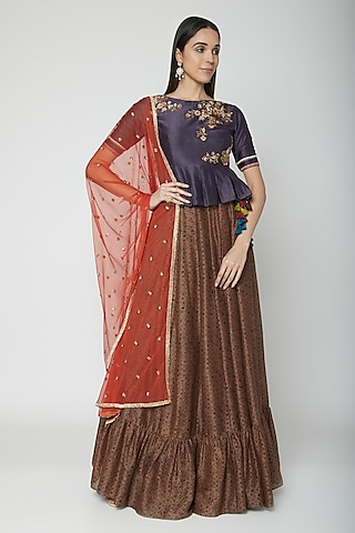 Grey Embroidered Top With Skirt & Dupatta by Joy Mitra