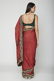 Red Embroidered Saree Set by Joy Mitra
