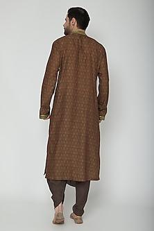 Brown Embroidered & Printed Dhoti Kurta Set by Joy Mitra Men