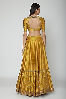 Mustard Yellow Embroidered Lehenga Set by Joy Mitra