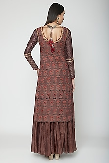 Brown Embroidered & Printed Kurta Set by Joy Mitra