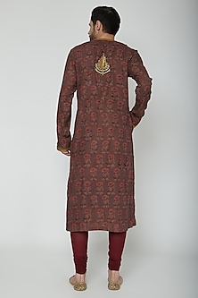 Brown Printed & Embroidered Kurta Set by Joy Mitra Men