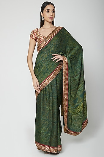 Green Embroidered Saree Set by Joy Mitra