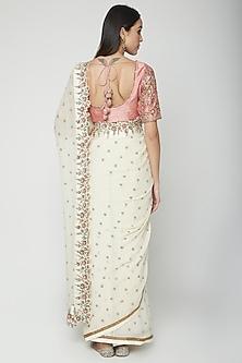 Cream Embroidered Saree Set by Joy Mitra