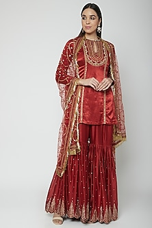 Maroon Embroidered Gharara Set by Joy Mitra