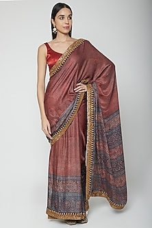 Red Embroidered & Printed Saree Set by Joy Mitra